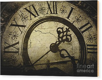 A Crack In Time Wood Print by Sharon Coty