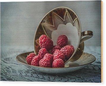 A Cupfull Of Raspberries Wood Print