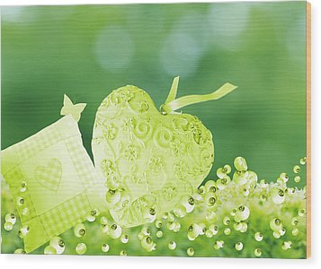 A Cushion And Lonely Heart In The Garden Wood Print by Grace  Olsson