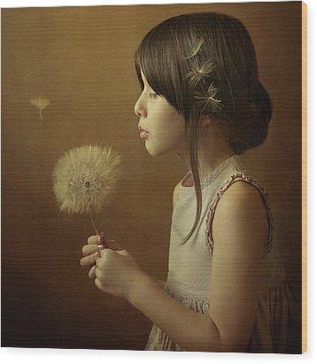 A Dandelion Poem Wood Print by Svetlana Bekyarova