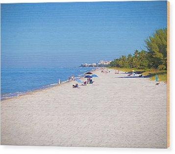 A Day At Naples Beach Wood Print
