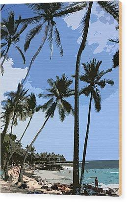 A Day At The Beach  Wood Print by Karen Nicholson