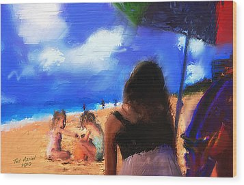 Wood Print featuring the painting A Day At The Beach by Ted Azriel