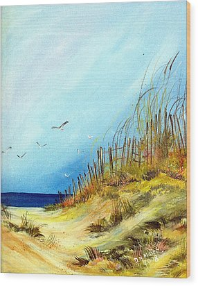 Wood Print featuring the painting A Day At The Ocean by Dorothy Maier