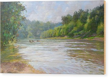 A Day At The River  Wood Print by Nancy Stutes
