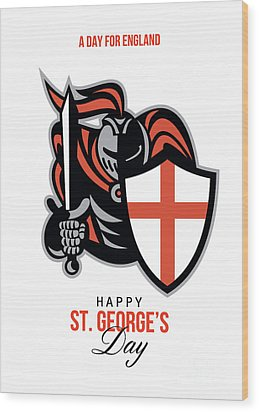 A Day For England Happy St George Greeting Card Wood Print by Aloysius Patrimonio