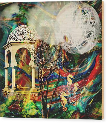 Wood Print featuring the mixed media A Day In The Park by Ally  White