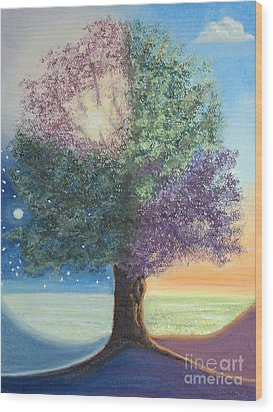 A Day In The Tree Of Life Wood Print by Stanza Widen