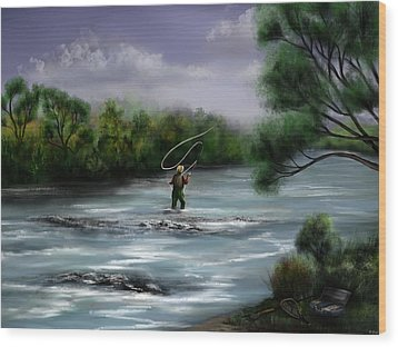 A Day On The Stream - Flyfishing Wood Print by Ron Grafe