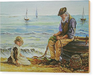 A Day With Grandad Wood Print by Andrew Read