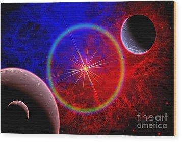 A Distant Alien Star System Wood Print by Mark Stevenson