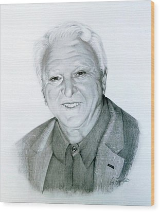 Wood Print featuring the drawing A Distinguished Gentleman by Lori Ippolito