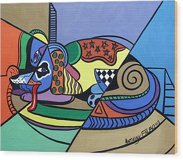 A Dog Named Picasso Wood Print by Anthony Falbo