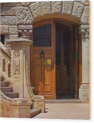 A Door In Monaco Wood Print by Christine Burdine