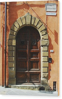A Door In Tuscany Wood Print by Mel Steinhauer