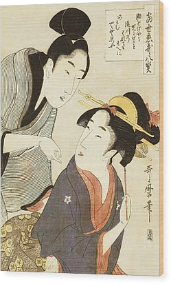 A Double Half Length Portrait Of A Beauty And Her Admirer  Wood Print by Kitagawa Utamaro