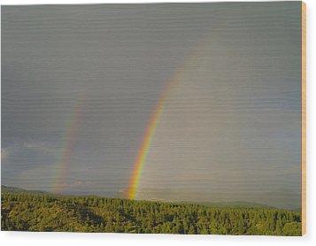 A Double Rainbow Near Durango Wood Print by Jeff Swan