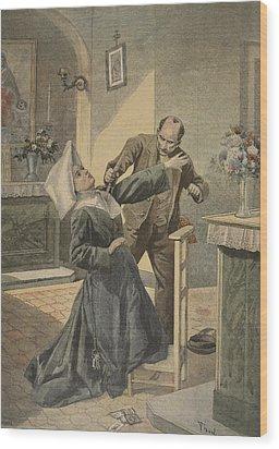 A Drama In An Asylum Assassination Wood Print by French School