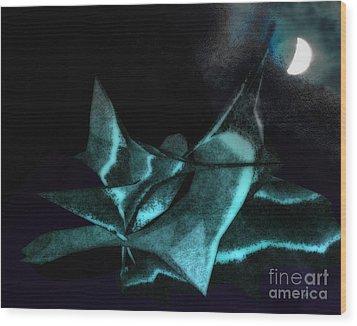 A Dream - Flying To The Moon Wood Print by Gerlinde Keating - Galleria GK Keating Associates Inc