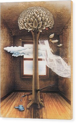 A Dream Of Words Wood Print by Jose Luis Alcover