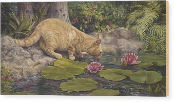 A Drink At The Pond Wood Print by Lucie Bilodeau