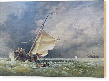 A Dutch Beurtman Aground Wood Print by Edward William Cooke