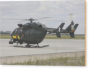 A Eurocopter Ec145 Helicopter Wood Print by Timm Ziegenthaler