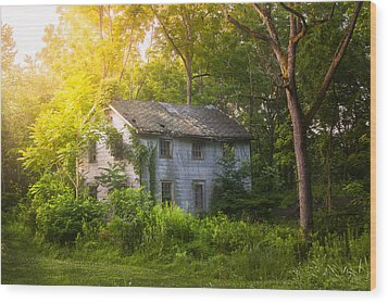 A Fading Memory One Summer Morning - Abandoned House In The Woods Wood Print by Gary Heller