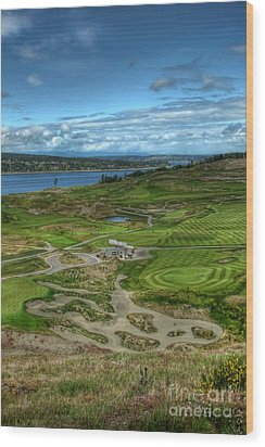 Wood Print featuring the photograph A Fairway To Heaven - Chambers Bay Golf Course by Chris Anderson