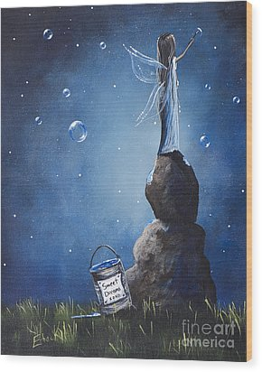 A Fairy's Nighttime Gift By Shawna Erback Wood Print by Shawna Erback