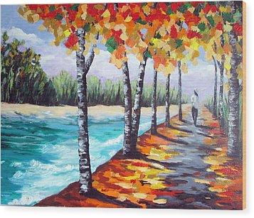 A Fall Stroll Wood Print
