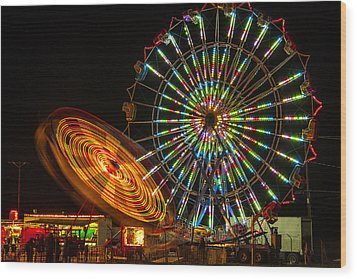 Wood Print featuring the photograph Colorful Carnival Ferris Wheel Ride At Night by Jerry Cowart