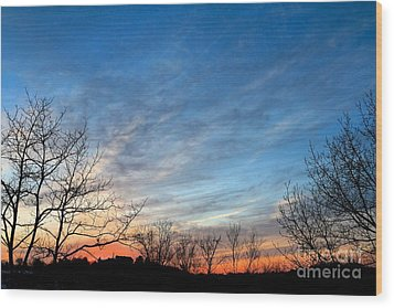A February Sunset Wood Print by Jay Nodianos
