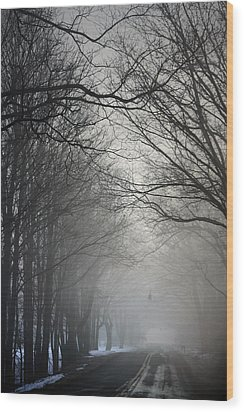 A Few Of My Favorite Things Trees In Fog Wood Print by Penny Hunt