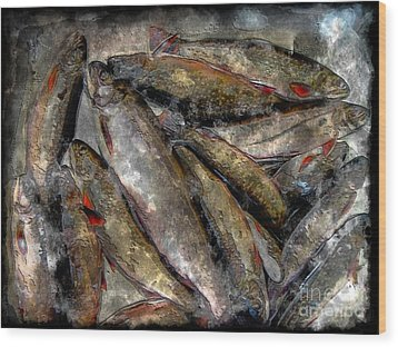 A Fine Catch Of Trout - Steel Engraving Wood Print by Barbara Griffin