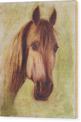 Wood Print featuring the painting A Fine Horse by Xueling Zou