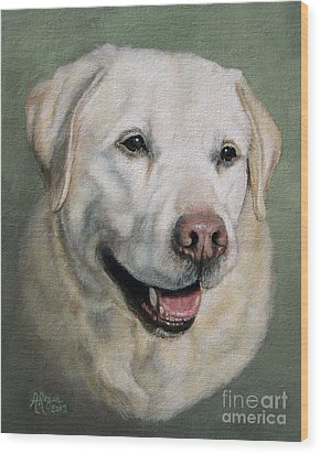 A Fine Old Lady Yellow Labrador Portrait Wood Print