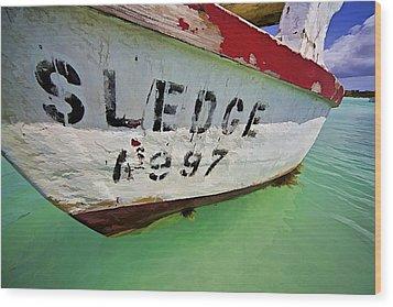 A Fishing Boat Named Sledge Wood Print by David Letts