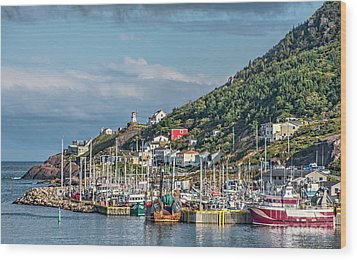 A Fishing Harbour In Newfoundland Canada Wood Print