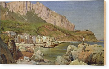 A Fishing Village At Capri Wood Print by Louis Gurlitt