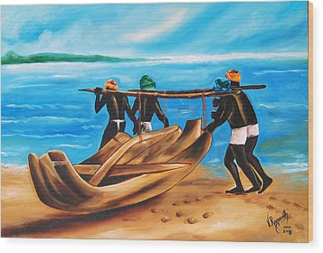Wood Print featuring the painting A Float On The Ocean by Ragunath Venkatraman
