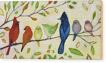 A Flock Of Many Colors Wood Print by Jennifer Lommers