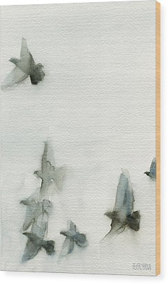 A Flock Of Pigeons 1 Watercolor Painting Of Birds Wood Print
