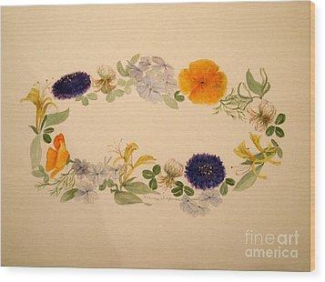 A Flower Circle Wood Print by Nancy Kane Chapman