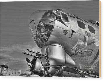 A Flying Fortress Bw Wood Print by Mel Steinhauer