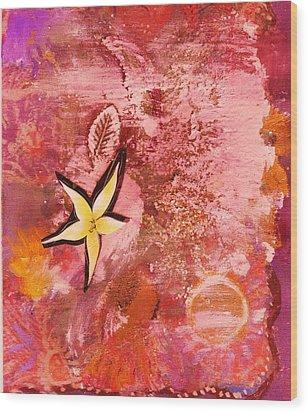 A Flying Star Flower Wood Print by Anne-Elizabeth Whiteway