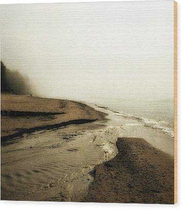 A Foggy Day At Pier Cove Beach Wood Print by Michelle Calkins