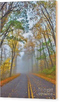 A Foggy Drive Into Autumn - Blue Ridge Parkway Wood Print