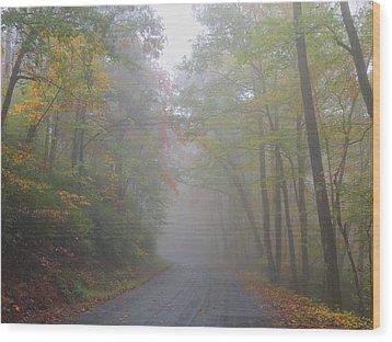 A Foggy Drive Wood Print