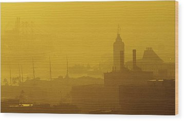 A Foggy Golden Sunset In Honolulu Harbor Wood Print